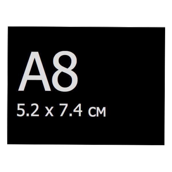 Меловая табличка А8 (74мм х 52мм), черная, без скругленных углов