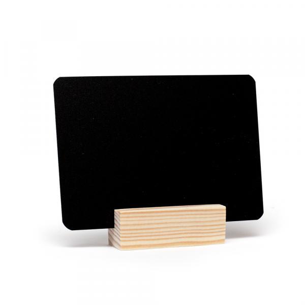 """Меловой ценник А7 черный на деревянной подставке """"Эконом"""""""