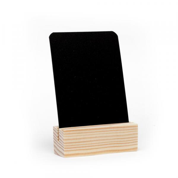 """Меловой ценник А8 черный на деревянной подставке """"Эконом"""""""